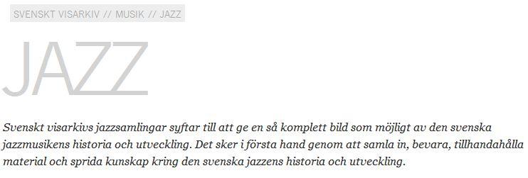 SvensktVisarkiv Jazz