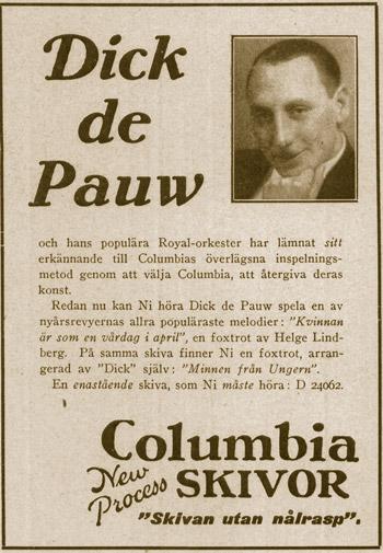 Dick de Pauw - annons från Columbia Records