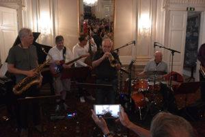Bob Mintzer, Per Nordgren, Martin Sjöstedt, Gustavo Bergalli Adan Nussbaum. Foto: Anders Olofsson